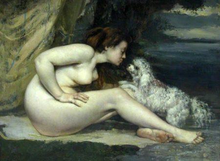 "Gustave Courbet ~ ""Femme nue au chien"" Donna nuda con cane"