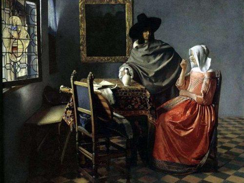 """""""Gentiluomo e ragazza che beve"""" (Il bicchiere di vino) di Jan Vermeer"""