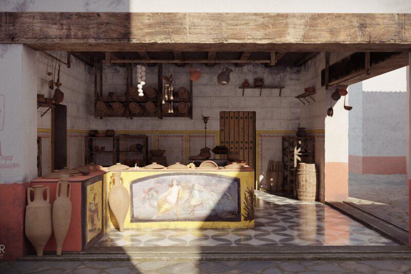 Thermopolium della Regio V di Pompei. Interessante ricostruzione grafica della struttura