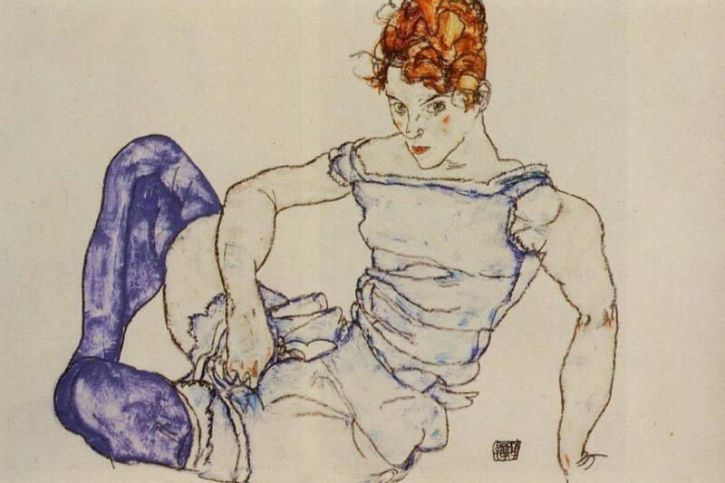Donna seduta in calze viola (Sitzende Frau mit violetten Strümpfen) – Egon Schiele